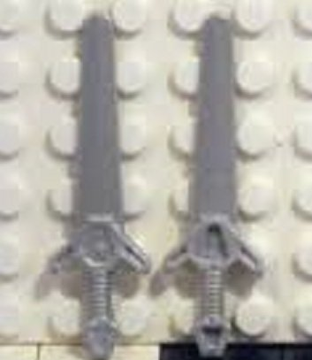 Lego Minifigure Weapon: 2 Metallic Silver Greatswords