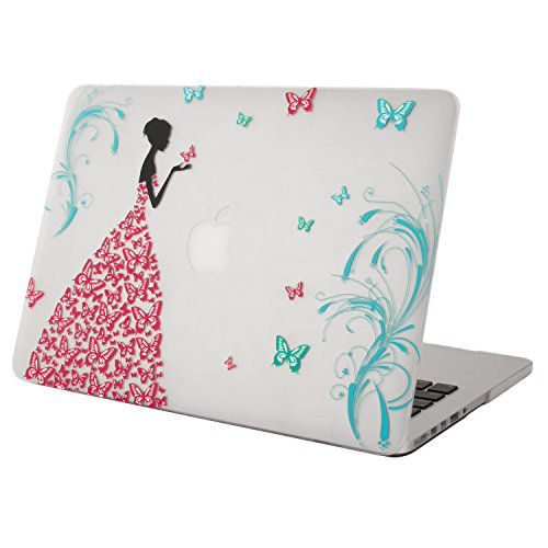 """Macbook Retina 13 case, Mosiso Dancing Butterfly Girl 13-Inch Rubberized Coating Clear Hard Case Cover for Apple MacBook Pro 13.3"""" with Retina Display A1502 / A1425 (NEWEST VERSION, NO CD-ROM Drive) (Dancing Butterfly Girl)"""