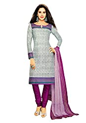 Salwar Studio Womens Cotton Unstitched Salwar Suit Dress Material (Sp-227 _Grey, Bright Pink _Free Size)
