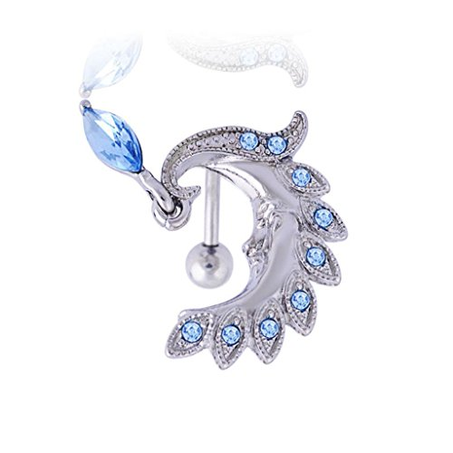 Hypoallergenic Surgical Steel Rhodium Plated Peacock Feather Belly Ring With Light Blue Cubic Zirconia Stones (Peacock Belly Button Ring compare prices)