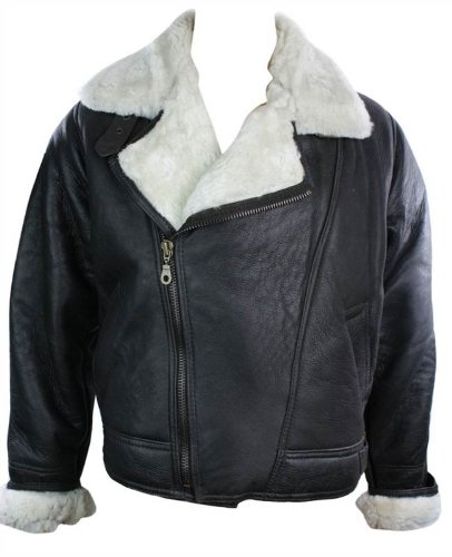 Mens Vintage Winter Real Sheepskin Leather Aviator Flying Jacket Brown & Cream Cross Zip