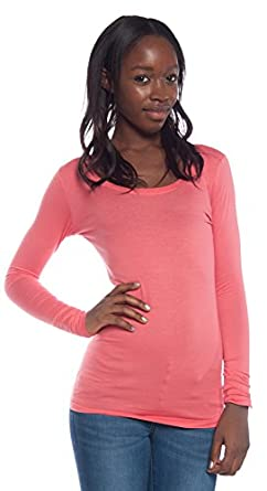 ACTIVE USA, INC. Women's Basic Scoop Neck Top Small Coral