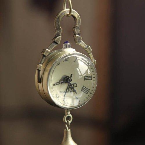 ZPS-Retro-Vintage-Bronze-Quartz-Ball-Glass-Pocket-Watch-Necklace-Chain-Steampunk