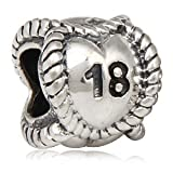 Everbling 18th Birthday Milestone Authentic 925 Sterling Silver Bead Fits Pandora Chamilia Biagi Troll Charms Europen Style Bracelets