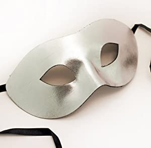 Metallic Silver - Fabric - Masquerade Mask - Party Mask - Super Hero Mask - Unisex - Men's by Fancy Goods