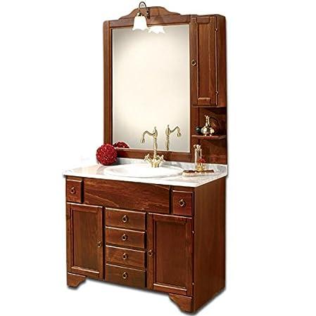 Mobile Arredo Bagno cm102 arte povera con top in marmo e specchio Mobili