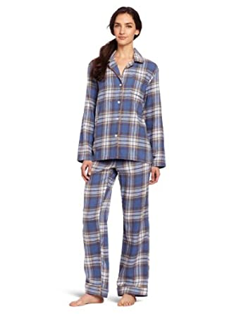 Bottoms Out Women's Flannel Pajama Set, Blue/Yellow, Medium