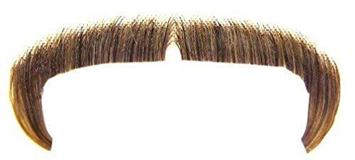 [Popcandy Medium Brown 100% Human Hair Zapata Fu Manchu Mustache 2016] (Fu Manchu Costumes)