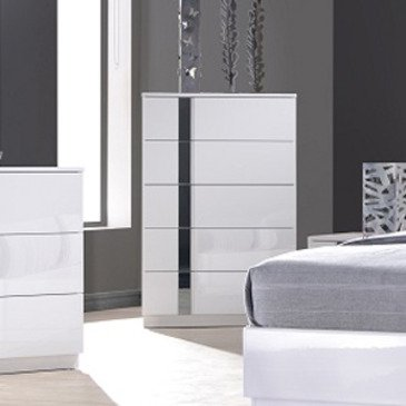 J&M Furniture Palermo Chest in White Lacquer & Chrome