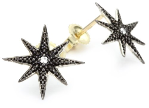 Mizuki Silver and Diamond Starburst  on 14k Gold Post Earrings
