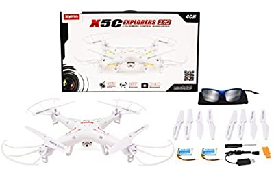 Syma X5C Bundle 4 CH 2.4 GHz RC Quadcopter UFO Drone w/ Camera (Extra set of rotor blades, battery and Turbotech Sunglasses)