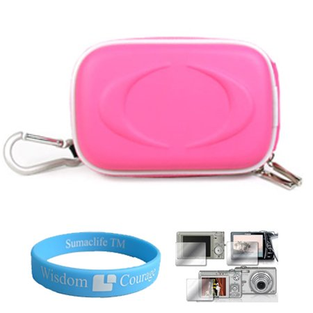 Camera Case for Sony Cybershot DSC-T DSC-W Series (Magenta) + Universal LCD Screen Protector Kit + Includes SumacLife TM Wisdom Courage Wristband