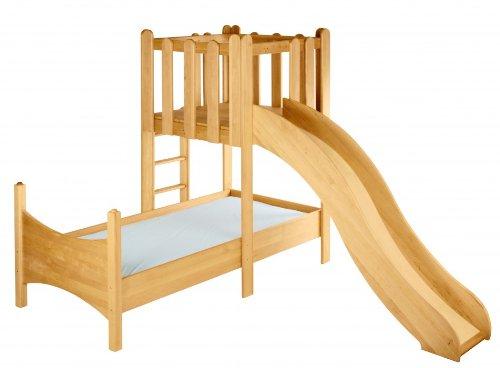 Spar-Set: Kinderbett mit Spielturm und Rutsche Massivholz Erle Noah jetzt kaufen