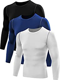 Neleus Men\'s 3 Pack Athletic Compression Sport Running T Shirt Long Sleeve Base Layer,Black,White,Blue,Small