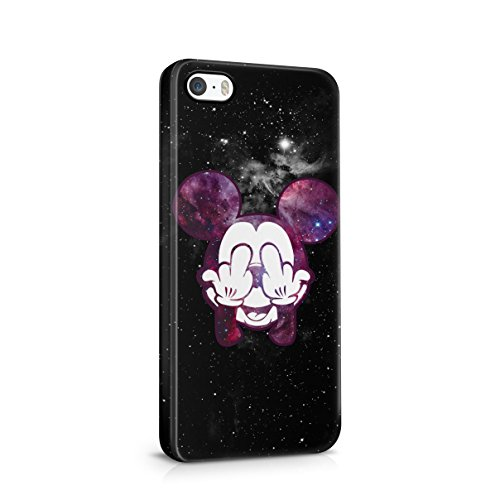 Mickey Mouse Fuck Finger Cosmic Galaxy Stars Space Hype Hard Plastic Case Cover For iPhone 5 , 5s , SE