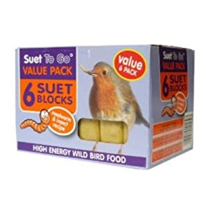 Unipet Wild Bird Suet Block Mealworms & Insect 300g Value Pack (Pack of 6)