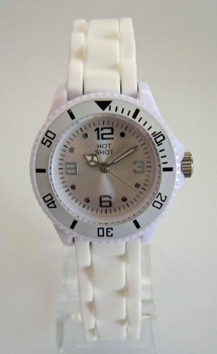 Hot Shot Kids Watch - Girls & Boys Wristwatch - Silicone, Quartz, Analogue, White - 1047W