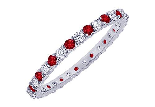 Ruby and Diamond Eternity Bangle Platinum 10.00 CT TGW