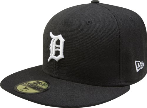 MLB Detroit Tigers Black with White 59FIFTY Fitted Cap, 7 1/4 (Cap Mlb New Era compare prices)