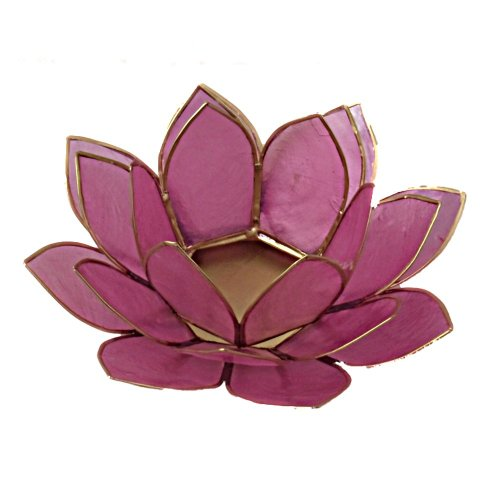 Lotus Tea Light Candle Holder Capiz Shell Decorating Accent Home Decor Gift Ideas (Pastel Light Pink)