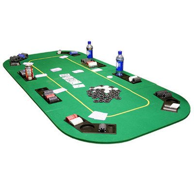 Texas Hold'em Folding Table Top with Cup Holders Felt Color: Green