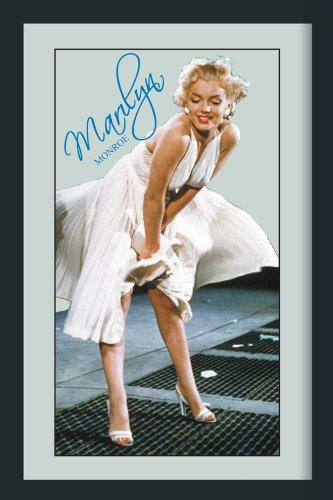 Empire 537850 Marilyn Monroe White Dress - Quadro su vetro stampato con cornice in plastica effetto legno - Misura 20 x 30 cm
