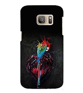 PrintVisa Modern Art Parrot Colorful 3D Hard Polycarbonate Designer Back Case Cover for Samsung Galaxy S7