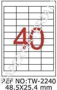 Tanex TW - 2240 universel 100 Étiquettes Adresses Étiquettes blanches 48.5 x 25,4 x 10 mm coins pointus feuilles A4)
