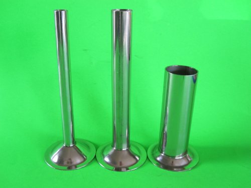 (3) Stuffing Tubes for CHEFS CHOICE meat grinder attachment. STAINLESS STEEL