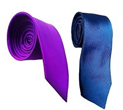 WSD men's narrow navy blue and royal blue microfiber tie pack of two (white)