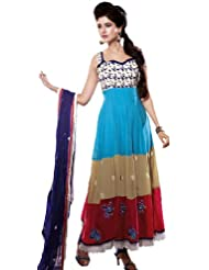 Exotic India Tri-Color Long Choodidaar Kameez Suit With Ari Embroide - Tri-Color