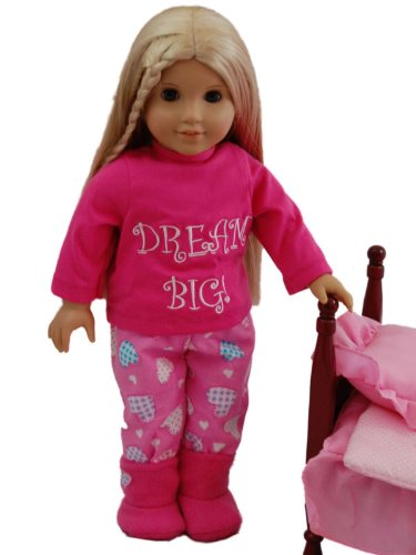 """Dream Big"" Pajamas:Pj Pants, Tee Shirt, Slippers Fits 18"" American Girl® Doll Clothes & Accessories front-12358"