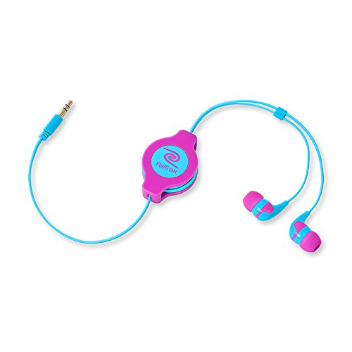 Retrak Retractable Stereo Earbuds, Neon Pink/Blue (Etaudnpkbu)