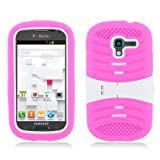 For Samsung Galaxy Exhibit (2013) (MetroPcs/ T-Mobile) Hot Pink Skin+White Rubber Cover W/ White Stand