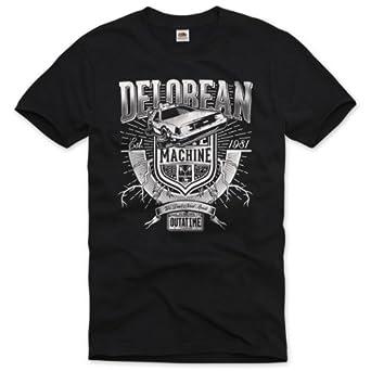 style3 DeLorean T-Shirt Homme DMC voyage temps vers le futur retour film ciné trilogie flux, Taille:S;Couleur:Noir