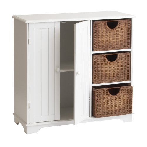 SEI Sideboard with Wicker Drawers, White