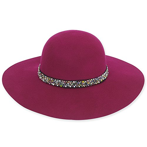 adora-womens-wool-felt-wide-brim-floppy-fedora-hat-with-bead-trim-455-b-fuchsia