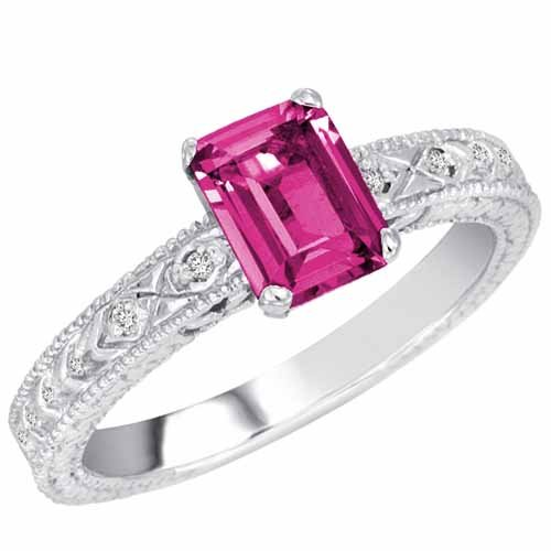DivaDiamonds Sterling Silver Emerald Cut Created Pink Sapphire and Round Diamond Ring (1 cttw, F-G, VS)