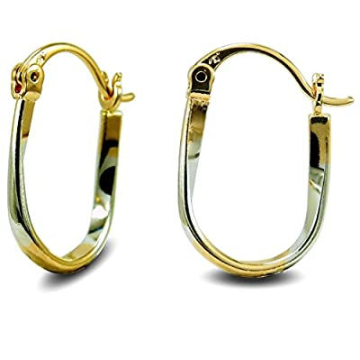 Small Dual Colour Ladies Creole Hoop Earrings 18ct Yellow and White Gold Filled Womens