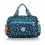 Women Nylon Flower Handbags Casual Mom Bags Shoulder Bags Crossbody Bag (Blue)