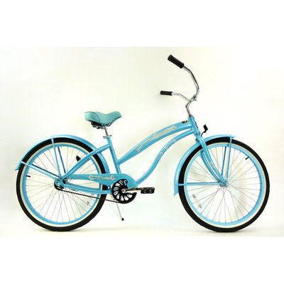 Women's Single Speed Aluminum Beach Cruiser Frame Color: Baby Blue
