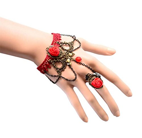 LUNA Womens Ladies Retro Gothic Red Lace Bracelets Bangles Flower Rings