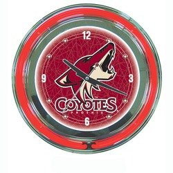 NHL Phoenix Coyotes Neon Clock - 14 inch Diameter