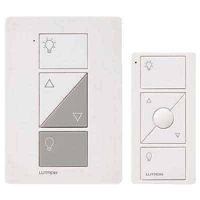 Lutron P-PKG1P-WH Caseta Wireless 300-watt/100-watt Plug-In Lamp Dimmer with Pico Remote Control Kit, White