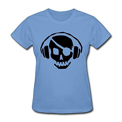 Women T Shirts Dead Skull Wearing Headphones Listening Pulse Beats,Personalized Music T-Shirt Sky Xl