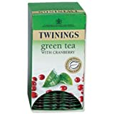 Twinings Infusion Tea Bags Individually-wrapped Green Tea and Cranberry Ref A07047 [Pack 20]