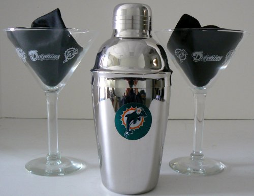 Nfl Officially Licensed Miami Dolphins Martini Gift Set front-501565
