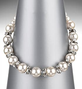 Faux Pearl Crystal Barrel Collar Necklace