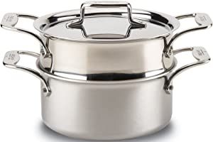 All-Clad BD55303 D5 Brushed 18/10 Stainless Steel 5-Ply Bonded Dishwasher Safe Casserole with Lid and Steamer Cookware, 3-Quart, Silver from Groupe SEB