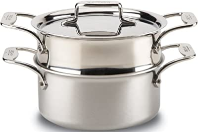 All-Clad BD55303 D5 Brushed Stainless Steel 5-Ply Bonded Dishwasher Safe Casserole with Lid and Steamer / Cookware, 3-Quart, Silver